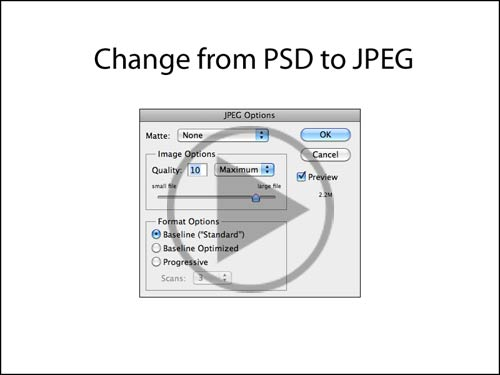 Change from PSD to JPG