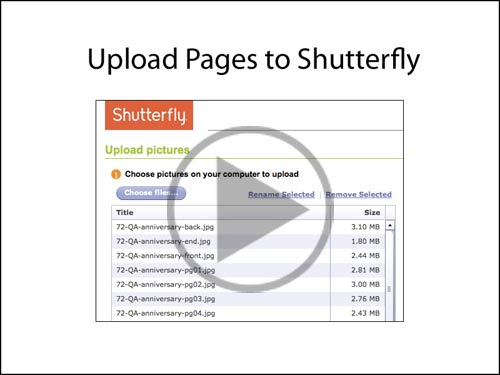 Upload pages to Shutterfly